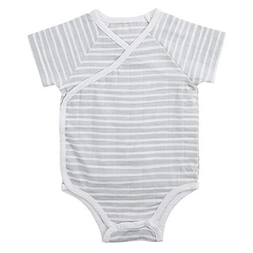 - aden + anais Baby Short Sleeve Kimono Body Suit, Grey Stripe, 9-12M