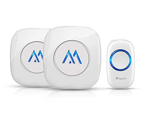 Magicfly Portable Wireless Doorbell Kit Remote Button Operating at 1000 ft Range with Over 50 Chimes, No Batteries Required for Receiver [1 Transmitter 2 Receiver], White]()