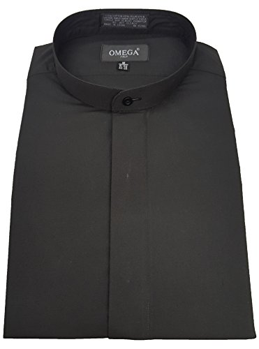 Black Dresses Cheap Prices - OmegaTux Men's Banded Collar(mandarin Collar) Black Dress Shirt, Non Pleat