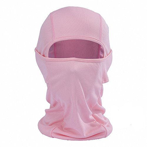 Maoko Cycling Outdoor Sports Hood Full Face Mask Hat Windproof- Airsoft Balaclava Mesh Face Mask Pink