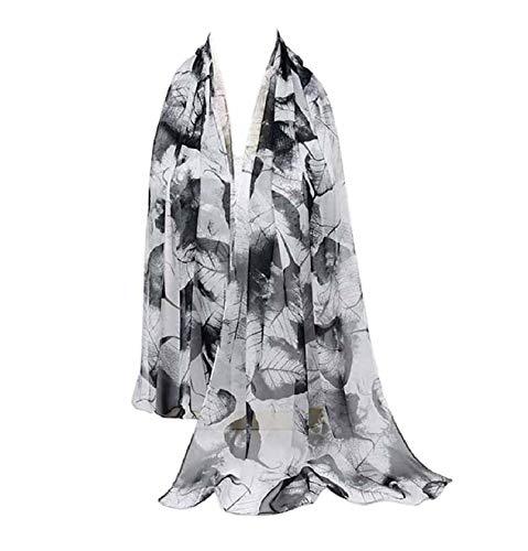 Print Silk Feeling Scarf Fashion Scarves Lightweight Shawl Scarf Sunscreen Shawls for Womens (Leaves&Black White)