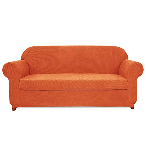 Subrtex 2-Piece Jacquard High Stretch Slipcover Furniture Protector for Settee Spandex Washable 3 Seater Cushion Couch Cover Coat (Sofa, Orange) (Sectional Slipcovers Sofa)