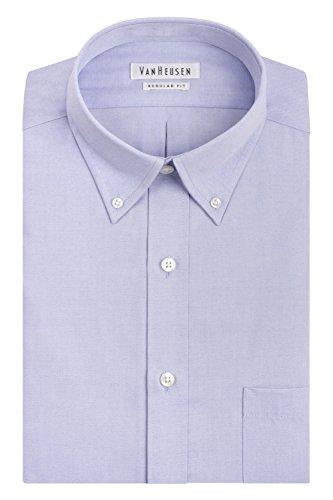 """Van Heusen Men's Pinpoint Regular Fit Solid Button Down Collar Dress Shirt, Blue, 16.5"""" Neck 32""""-33"""" Sleeve from Van Heusen"""
