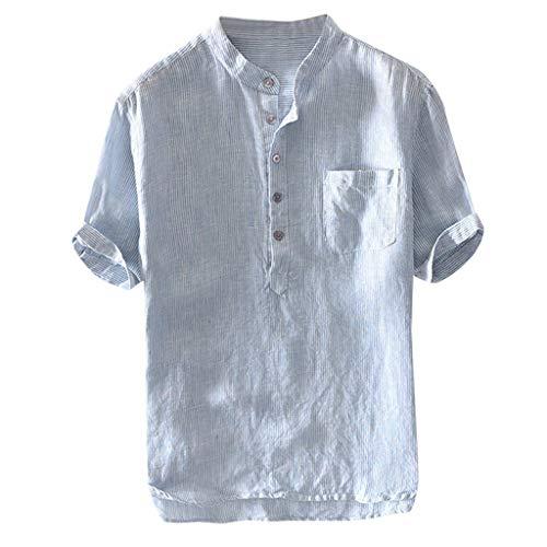 Men Shirts Breathable Cotton Linen Short Sleeve Button up Pocket T Shirt Blouse Mens Comfy Solid Color Tunic -