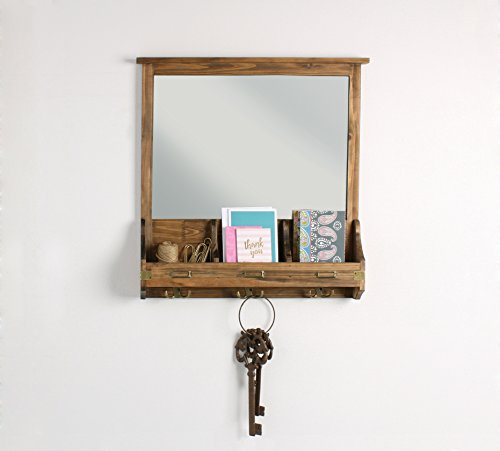 Kate and Laurel 209304 Stallard Decorative Rustic Wood Mirror Wall Home Organizer,Rustic Brown by Kate and Laurel