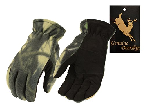 Men's Camo Deer Suede Palm and Fleece Thermal Lined Gloves-BLK/CAMO-LARGE