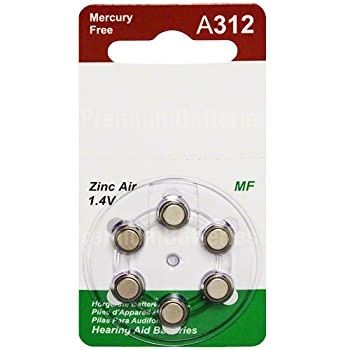 ZeniPower Mercury Free Size 312 Hearing Aid Batteries Neutral MF Card (120 Batteries)