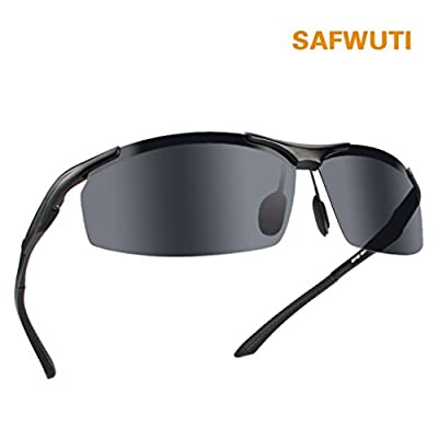Men's Polarized Sunglasses, SAFWUTI Unbreakable Sports Polarized Sunglasses Driver Glasses Unbreakable Frame for Driving Cycling Running Fishing Golf - Metal Frame Al-Mg Glasses