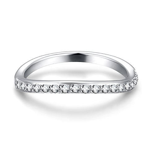 EAMTI Curved Half Eternity Wedding Band Cubic Zirconia CZ 925 Sterling Silver Ring Size 8 by EAMTI (Image #1)