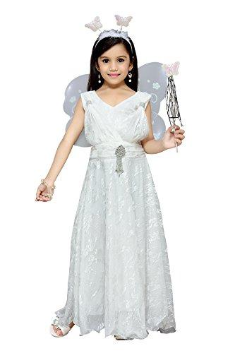 Aarika Girl's Christmas Angel Gown with Butterfly Wings (PARI-MD-101-WHITE_38_12-13 Years) by Aarika