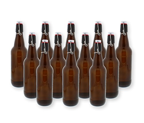 Swing Top Bottles w/Caps - 16.9oz, Amber Glass, Reusable for Homebrew - 12 pack ()