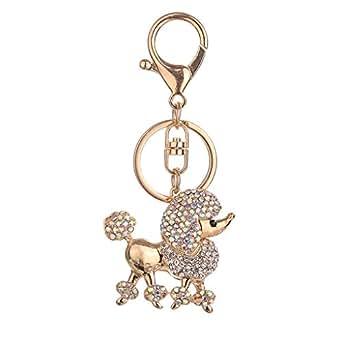 Prettyia Shiny Diamante Keychain Bag Car Pendant Keyring Gifts Car Key Ring Accessory - Gold, 10.5x5cm
