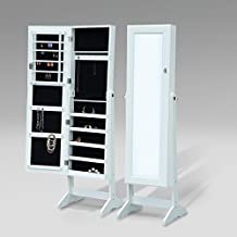 HOMCOM Mirrored Jewelry Cabinet Organizer Storage Display Stand Armoire Case White
