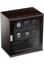 Scatola del Tempo 6RT SP EB OS 1 VETRO Zebrano Wood 6 Watch Winder w/ Storage