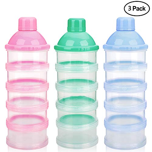 Accmor Baby Milk Powder Formula Dispenser, Non-Spill Smart Stackable Baby Feeding Travel Storage Container, BPA Free, 5 Compartments,3 Pack