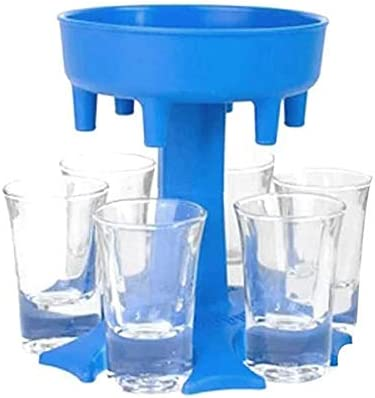 Shot Glass Dispenser and Holder Carrier Caddy Liquor Dispenser Party Beverage Drinking Bar Cocktail Dispenser comes with 6 acrylic glassess (Blue)
