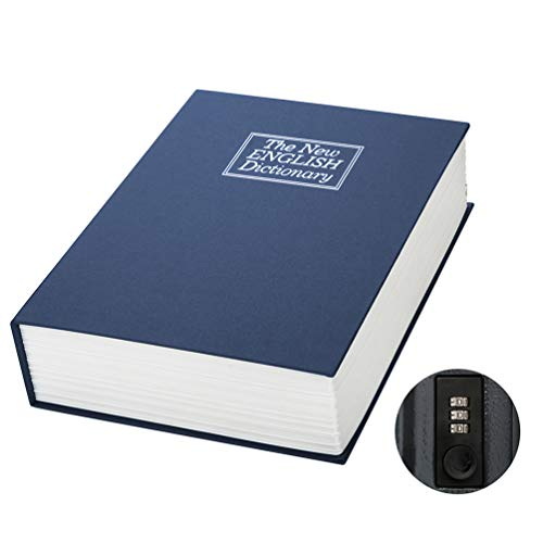 Large Book Safe with Combination Lock – Jssmst Home Dictionary Diversion Safe Lock Box, 10.5 x 7.8 x 2.5 Inch, Navy XLarge, SM-BS1402XL by Jssmst