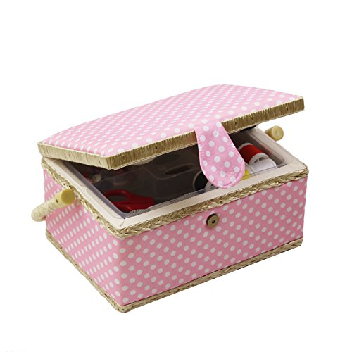 Sewing Basket Kit, Sewing Box Organizer - Includes Sewing Accessories/Removable Tray/Handle/ Built-in Pin Cushion & Interior Pocket - Pink Polka Dot - Medium 9.5 x 6.9 x 5.1 inches - by D&D Design by D&D