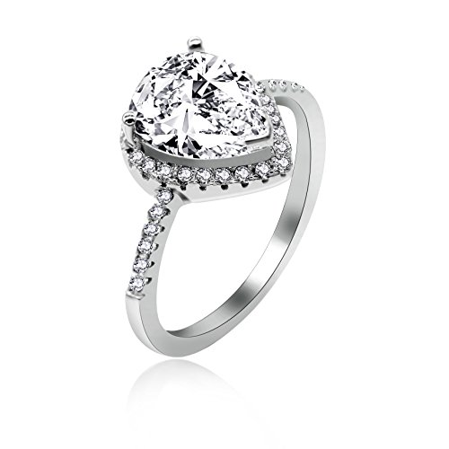 Uloveido 925 Sterling Silver Teardrop Shape CZ Halo Promise Ring Pear Cut Created Diamond Birth-Stone Friendship Ring Mom (White, Size 10) JZ116