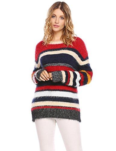 (Hufcor Winter Casual O-neck Loose Color-block Striped Knit Pullover)