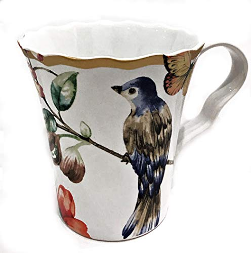 - Floral Coffee Mug with Butterflies and Blue Bird | Fine Porcelain