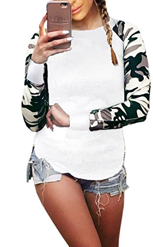 T Haut Jumper et Tee Longues Printemps Automne Chemisier Blanc New Femme Rond Manches Fashion pissure Shirts Shirts Camouflage Tops Col Blouse Sweat xCw6XgYq