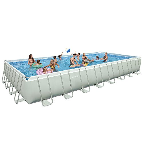 Intex 32ft X 16ft X 52in Ultra Frame Pool Set with Sand Filter Pump & Saltwater System, Ladder, Ground Cloth, Pool Cover, Deluxe Maintenance Kit & Volleyball Set