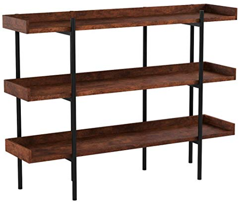 "Flash Furniture Mayfair 3 Shelf 35""H Storage Display Unit Bookcase with Black Metal Frame in Rustic Wood Grain Finish, JN-2542B3-GG"