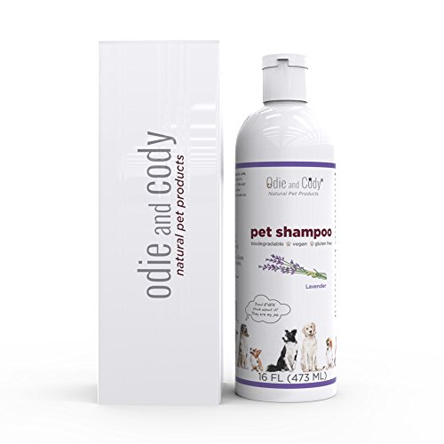Odie and Cody Natural Pet Shampoo, Organic Lavender Shampoo for Dogs, Cats, Puppies, Kittens, Guinea Pigs, Goats, Soothes Dry Skin (16 oz) Made in USA