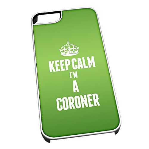 Bianco cover per iPhone 5/5S 2556 verde Keep Calm I m A Coroner