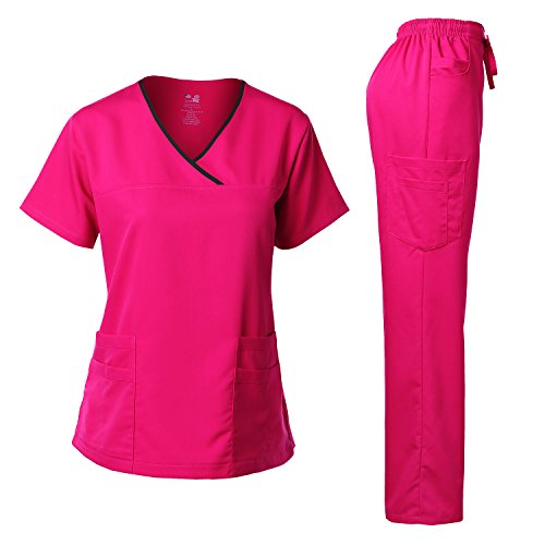 Women's Scrub Set Stretch Top and Pants Hot Pink M