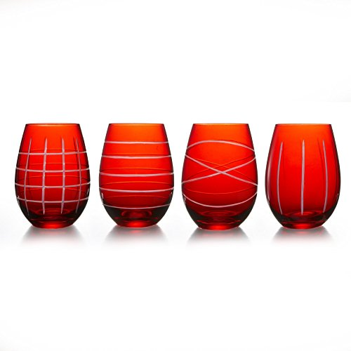Fifth Avenue Crystal Medallion Stemless Goblets (Set of 4), Red ()
