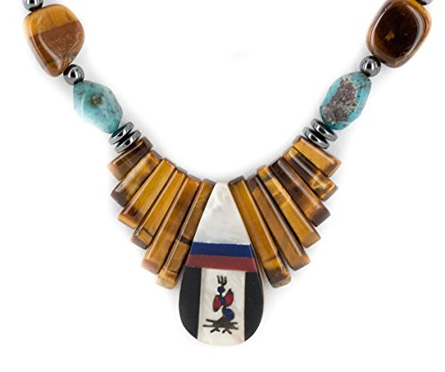 $250Tag Silver Certified Inlay Navajo Natural Turquiose MOP Tigers Eye Native American Necklace 15757-19 ()