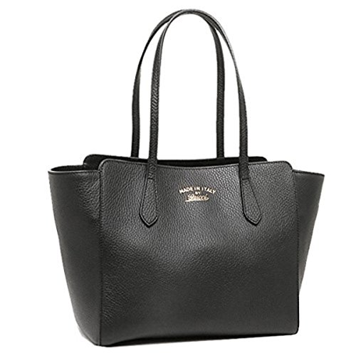 Gucci Swing Black Leather Small Shoulder Tote Bag 354408