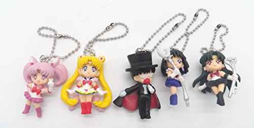 Chibi Pvc Keychain (5 Sailor Moon Tuxedo Mask Chibi Moon Uranus Cute PVC Mascot Charm Key Chain Set)