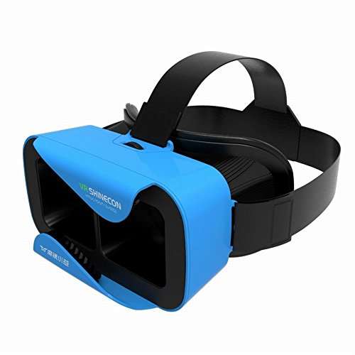 "VR Shinecon 3D Virtual Reality Glasses Headset W Adjustable Head Band Strap for 4.7"" to 6.0 "" Inches Smartphones [IMAX 3D Movies / Immersive VR Gaming] (Blue)"