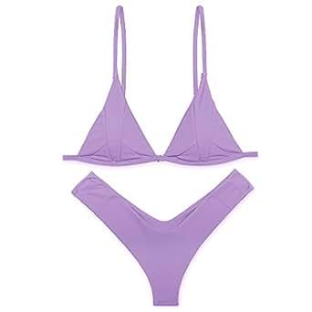 Sexybody Women's 2PCS Adoreable Halter Push Up Cheeky Bikini Set Brazilian Printing Bottom Triangle Swimsuits (S(US 4-6), Purple)