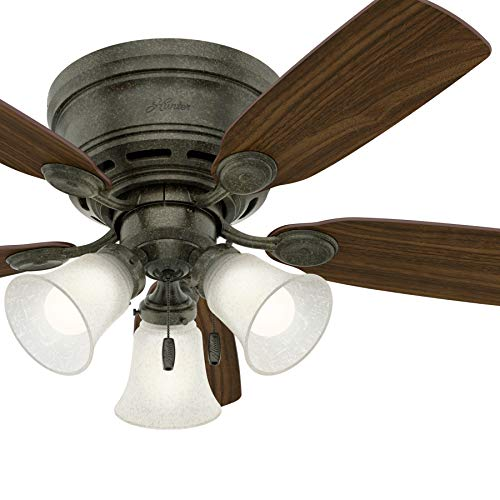 ow Profile Provencal Gold Indoor Ceiling Fan with Light Kit (Certified Refurbished) ()