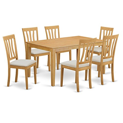 East West Furniture CAAN7-OAK-C 7 Piece Small Kitchen Table and 6 Chairs Set