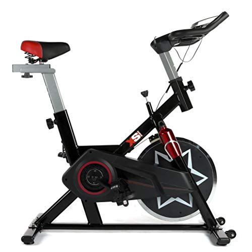 XS Sports SB300 Aerobic Indoor Training Exercise Bike-Fitness Cardio Home Cycling Racing-with PC + Pulse Sensors (Black)