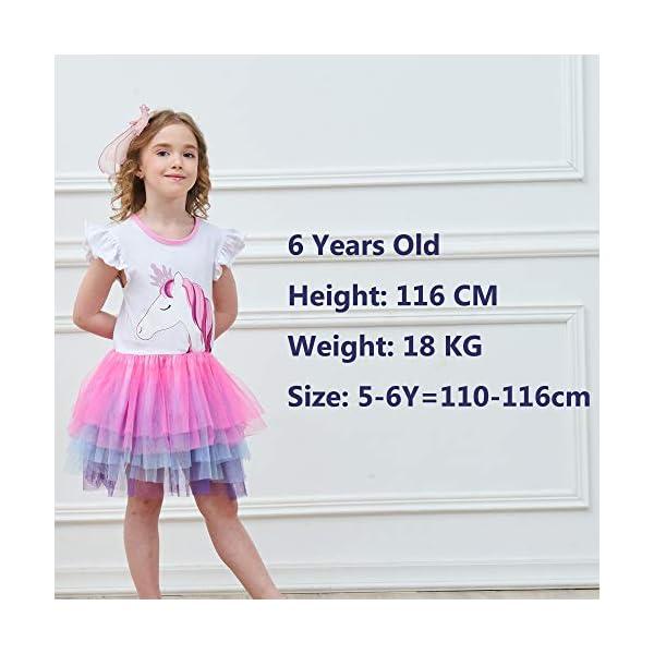 VIKITA Vestito Cotone Stampa Principessa Tulle Tutu Festa di Compleanno Abito Bambina 4
