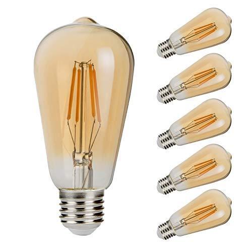 GALYGG Vintage LED Edison Bulb 40 Watt Equivalent, Dimmable Antique Filament Light Bulbs Decorative (ST58 Amber Glass) 4W 400LM 2700K Warm White, E26 Medium Screw Base - 6 Pack [並行輸入品] B07R5VBBDM