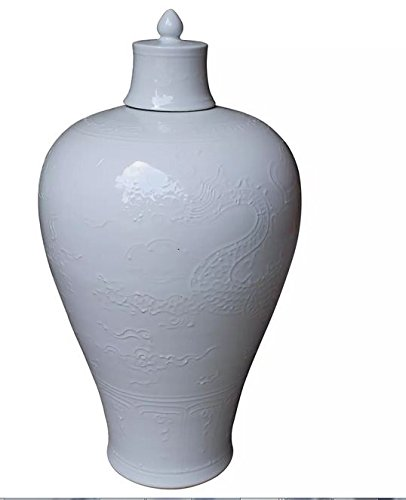 Asian Traditional Chinese White Carved Dragon Plum Vase with Lid