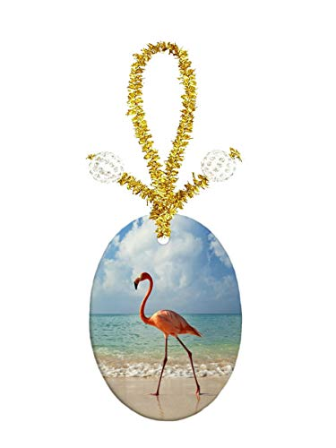 Porcelain Jewelry Oval Pendant - Eunice Beach Flamingos Porcelain Ornament Crafts Oval Porcelain Christmas Decorations Home Hanging Jewelry Gift Souvenir
