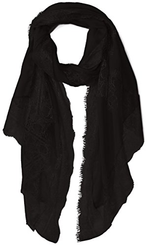 (Orchid Row's Lace Trim Lightweight Travel Scarf Black)