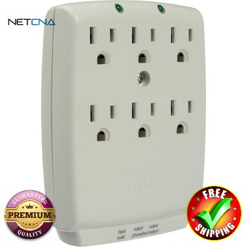 F9H620-CW 6-Outlet Wall-mount Home Series Surgemaster Surge Protector with RJ-11 Phone Protection - White With Free 3 Feet NETCNA HDMI Cable - BY NETCNA