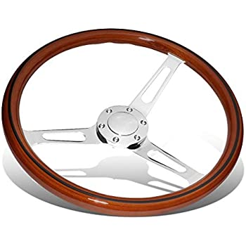 DNA MOTORING Chrome//Cherry Wood Grain SW1401 350mm Stainless Steel Spokes Grip Steering Wheel with Aftermarket 6-Bolt X 70mm Pattern