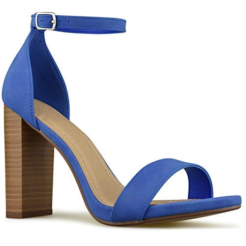 Premier Standard - Women's Single Band Chunky Heel Sandal with Ankle Strap, TPS10-00012 Blue/Stack Size 7.5