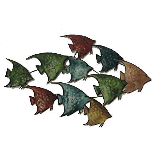 Benzara BM05387 Three Dimensional Metal Fish Wall Decor, Multicolor