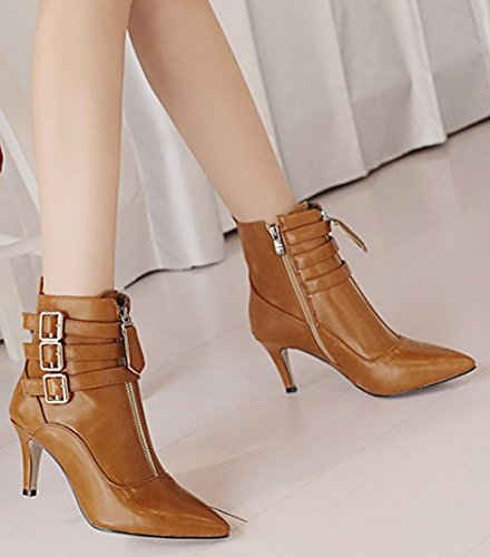 Stiletto Ankle Easemax Boots Zipper Pointed Brown Toe High Mid Martin Heel Side Sweet Women's Z6qXA